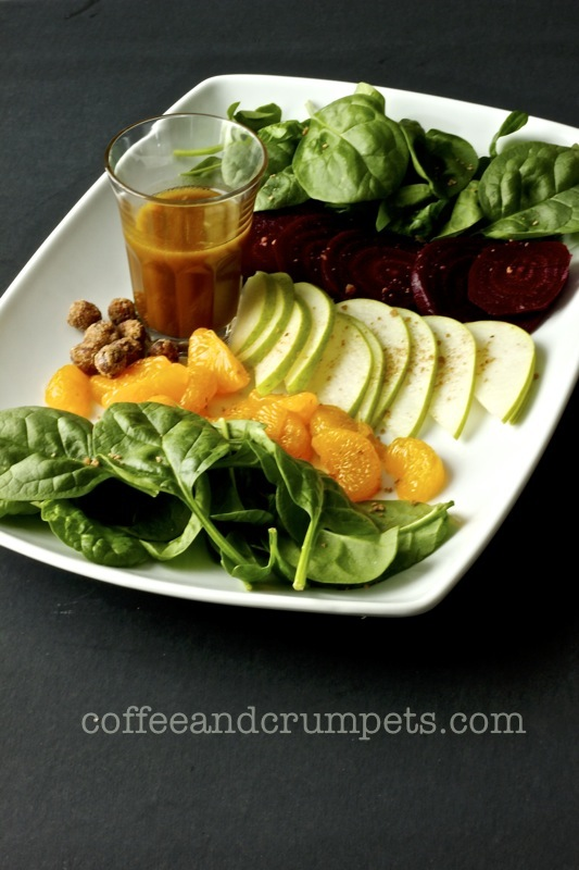 spinach, beet and pear salad