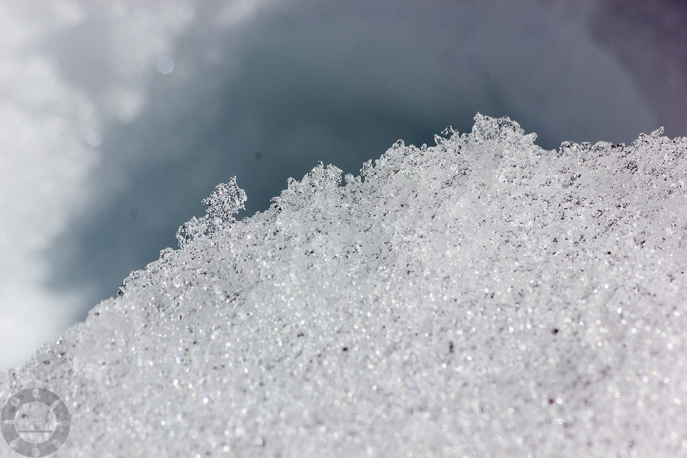 Close up of the snow crystals.