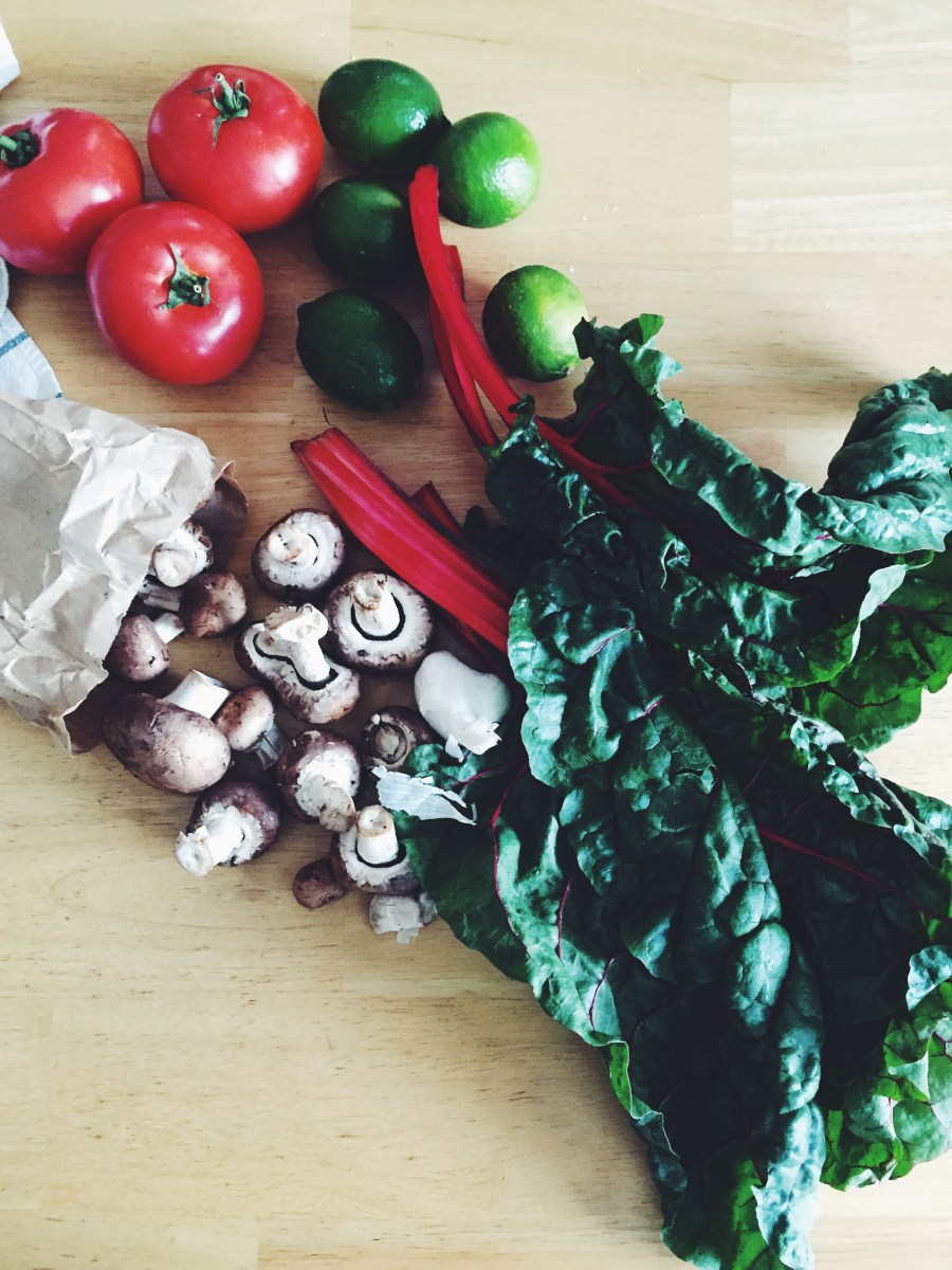 Red chard, mushrooms, and tomatoes