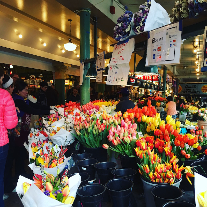 Flower stalls at Pike Place Market
