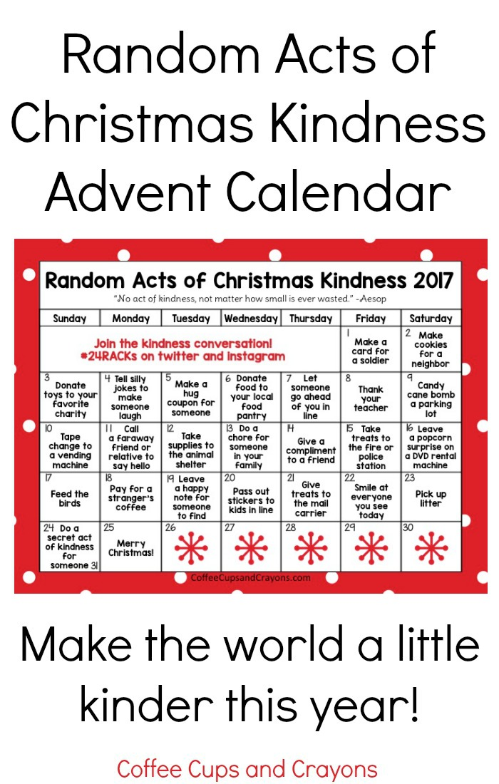 Free Printable Random Acts of Christmas Kindness Calendar for 2017! Do good this year!   Random Acts of Christmas Kindness printable printable advent calendar | Coffee Cups and Crayons
