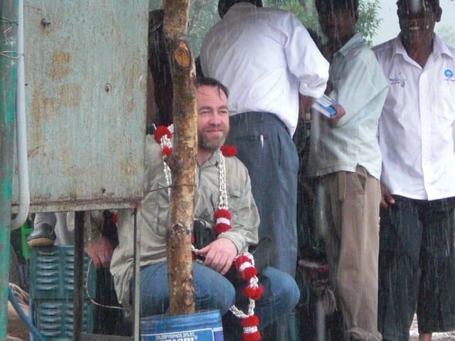 Gwilym Davies in India, in the rain