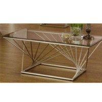 Rectangular Contemporary Metal Sculpture Base Coffee Table ...