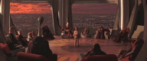 Anakin facing Yoda's decision