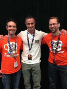 Co-Hosts Dan Z & Cory Clubb with Freddie Prinze Jr. at Celebration Anaheim.