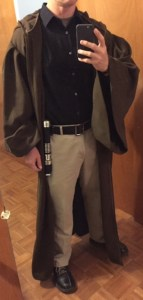 An example of bounding. The pants/shirt are customary for me at work. Adding the robe and lightsaber just for Halloween was a nice (trick or) treat.