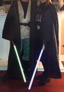 Casual costuming several Halloweens ago. Darth Wife and I model our inexpensive, pieced-together outfits.