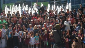 Ahsoka Lives Day group photo at SWCA. I'm in the back center in front of Kylo Ren.