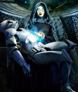 Barriss heals a clone trooper with the Force