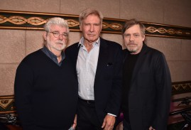 HOLLYWOOD, CA - MARCH 08: (L-R) George Lucas, Harrison Ford, and Mark Hamill at Mark Hamill Star Ceremony on the Hollywood Walk of Fame on March 8, 2018 at Hollywood Walk Of Fame in Hollywood, California. (Photo by Alberto E. Rodriguez/Getty Images for Disney) *** Local Caption *** Mark Hamill; George Lucas; Harrison Ford