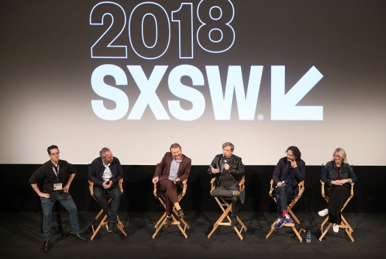 "AUSTIN, TX - MARCH 12: (L-R) Moderator Alex Johnson, director Anthony Wonke, Writer/Director Rian Johnson, actor Mark Hamill, producer Ram Bergman and producer Tylie Cox attend the Star Wars: The Last Jedi ""The Director and The Jedi"" SXSW Documentary Premiere at Paramount Theatre on March 12, 2018 in Austin, Texas. (Photo by Jesse Grant/Getty Images for Disney) *** Local Caption *** Alex Johnson;Anthony Wonke;Rian Johnson;Mark Hamill;Ram Bergman;Tylie Cox"
