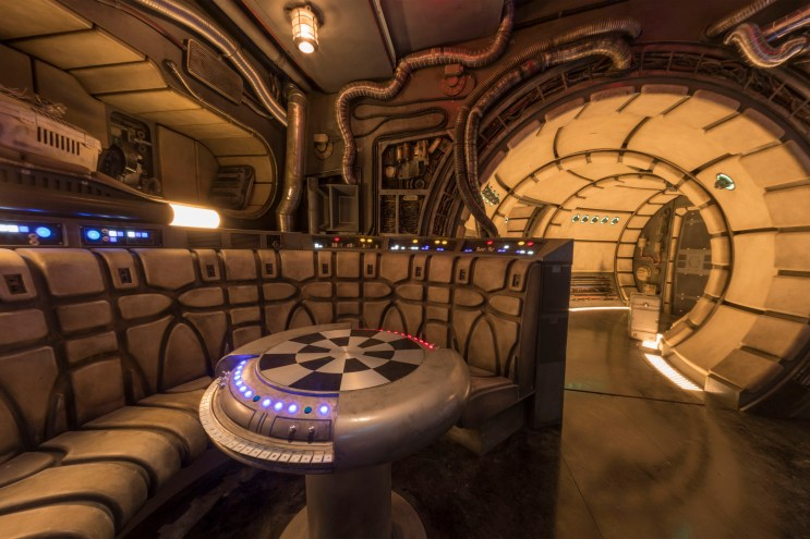 The famous main hold lounge is one of several areas Disney guests will discover inside Millennium Falcon: Smugglers Run before taking the controls in one of three unique and critical roles aboard the fastest ship in the galaxy at Star Wars: GalaxyÕs Edge at Disneyland Park in Anaheim, California, and at Disney's Hollywood Studios in Lake Buena Vista, Florida. (Joshua Sudock/Disney Parks)