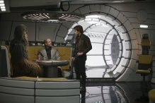 Joonas Suotamo is Chewbacca, Woody Harrelson is Beckett and Alden Ehrenreich is Han Solo in SOLO: A STAR WARS STORY.