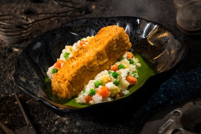 Innovative and creative eats from around the galaxy will be available at Star Wars: Galaxy's Edge when it opens May 31, 2019, at Disneyland Park in Anaheim, Calif., and Aug. 29, 2019, at Disney's Hollywood Studios in Lake Buena Vista, Fla. The Fried Endorian Tip-Yip, found at Docking Bay 7 Food and Cargo inside Star Wars: Galaxy's Edge, is a decadent chicken dish with roasted vegetable mash and herb gravy. (David Roark/Disney Parks)