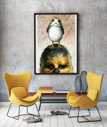 The Odd Couple: Chewbacca & Porg Art Lithograph - $40