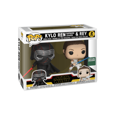 FUNKO - Kylo Ren (Supreme Leader) & Rey 2-Pack Episode IX Rise of Skywalker - $27.99 Your favorite Star Wars characters are now available as a Funko Pop! vinyl figures. This stylized collectible stands 3 ¾ inches tall, perfect for any Star Wars fan! Shop now at Funko