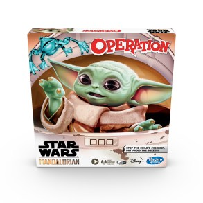 """OPERATION: STAR WARS THE MANDALORIAN EDITION Game (HASBRO/Ages 6 years & up/Approx. Retail Price: $19.99/Available: Spring 2020) With this OPERATION: STAR WARS THE MANDALORIAN EDITION Game, kids can imagine scenes from THE MANDALORIAN live-action TV series on Disney Plus. Fans have fallen in love with THE CHILD, the character they call """"BABY YODA,"""" and must try to stop the mischief! Look at all the objects THE CHILD has taken, including a froggy, a cup of broth, and a mudhorn egg! Players can have fun using the tweezers as they try to remove the most pieces from the game unit without setting off the buzzer. When all of the objects have been removed, the player with the most pieces wins. This game is for 1 or more players. Includes gameboard, tweezers, 11 plastic objects, storage tray, and instructions. Requires 2 1.5V AA batteries, not included. Available at Amazon and Walmart."""