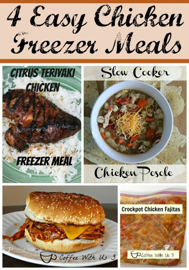 Save Time & Money with these 4 Easy Chicken Freezer Meals: Chicken Fajitas, Chicken Posole, BBQ Chicken Sandwiches, and  Citrus Teriyaki Chicken