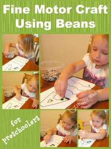 Fine Motor Craft Using Beans is great for preschoolers!