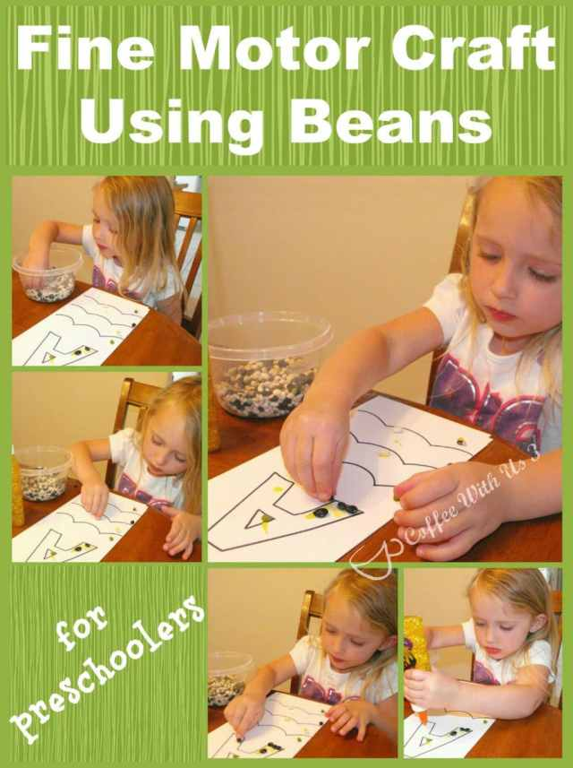 Fine Motor Craft Using Beans is perfect for preschoolers!