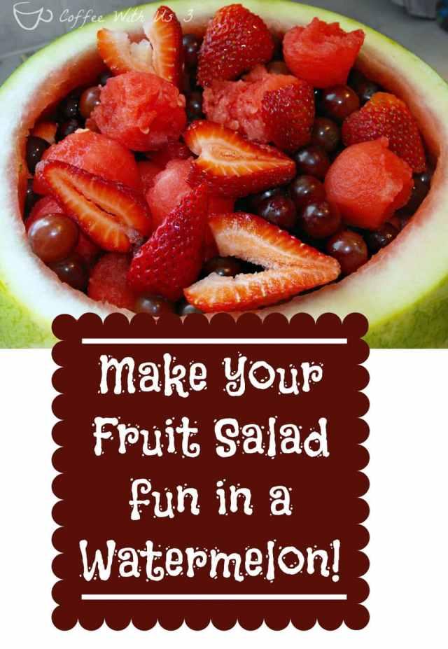 Fun Fruit Salad in a Watermelon