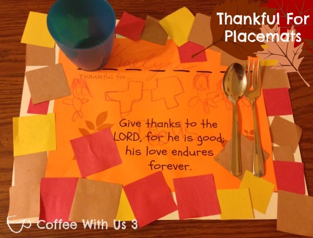 Kids Craft- Thanksgiving Placemats for Kids