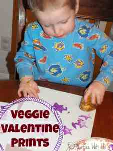Veggie Valentines. Printing with vegetables and paint for Valentine's Day-- cute, easy, and cheap!