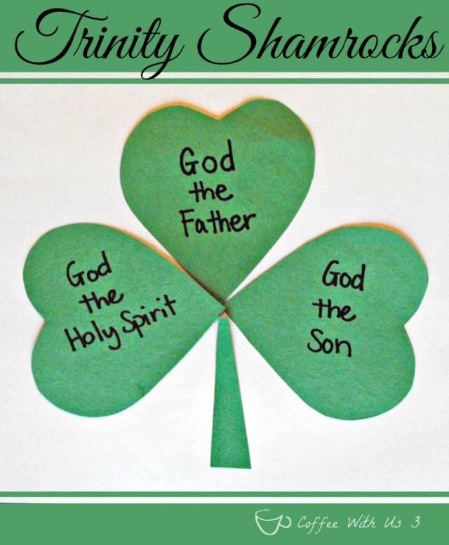 Trinity Shamrocks Preschool Craft- Teaching the Trinity of God through shamrocks #stpatricksday