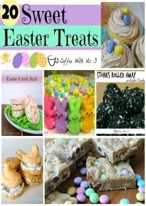 20 Sweet Easter Treats that are delicious and fun! From peeps cake to candy bark to nest cupcakes you are sure to find an Easter treat your family will love