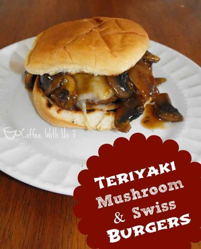 These Teriyaki Mushroom and Swiss Burgers are easy to make and sure to please! #hamburger #yoshida