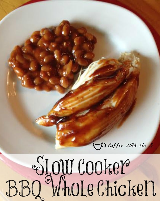 Wonderful BBQ Chicken flavor in your crock pot!! Plus using a whole chicken which saves you money!!