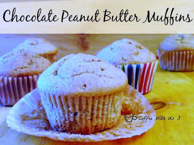 Banana Muffins with Skippy Peanut Butter with Dark Chocolate!!!  These might be my new favorite muffins.