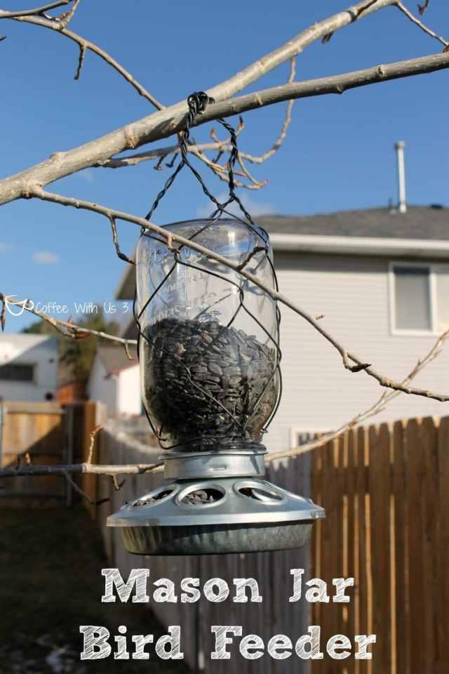 Mason Jar Bird Feeders are a fun, quick craft!