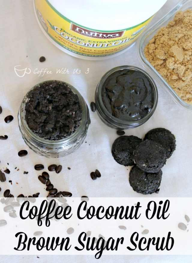 Coffee Coconut Oil Brown Sugar Scrub is a great way to reuse coffee grounds!