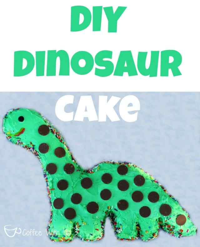 A cute and easy dinosaur cake that even a beginner can make! No special pan required! Includes template.