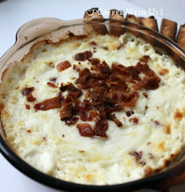 Creamy, cheesy Baked Ricotta Dip with Bacon is a delicious and easy appetizer!