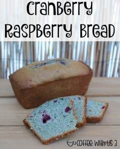 Must try quick bread. This Cranberry Raspberry Bread is delicious, moist, & fruity. So good you'll want to eat the whole loaf yourself!