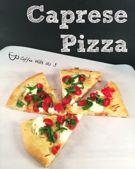 Caprese Pizza is a mashup of a Caprese Salad and Pizza. It is a delicious light pizza with tomatoes, mozzarella, ricotta and basil.