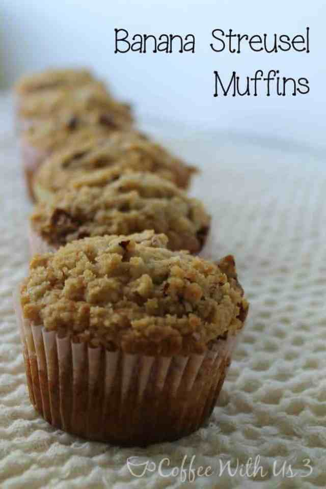 Banana Streusel Muffins recipe. Great for breakfast or a snack!