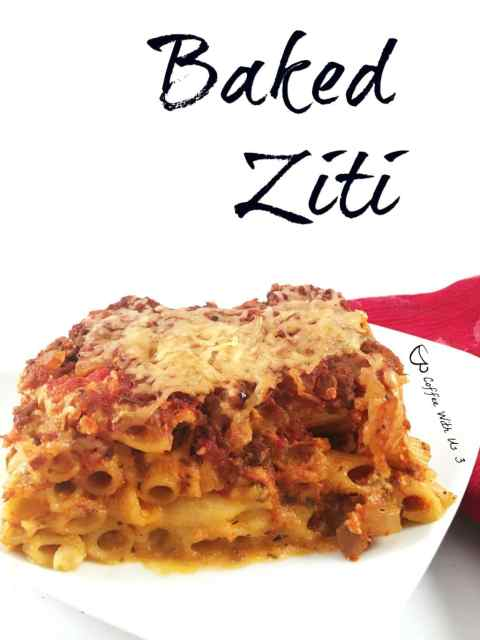 Baked Ziti is a great twist on lasagna. It has amazing flavor and has tons of cheese. It's perfect served with garlic bread.