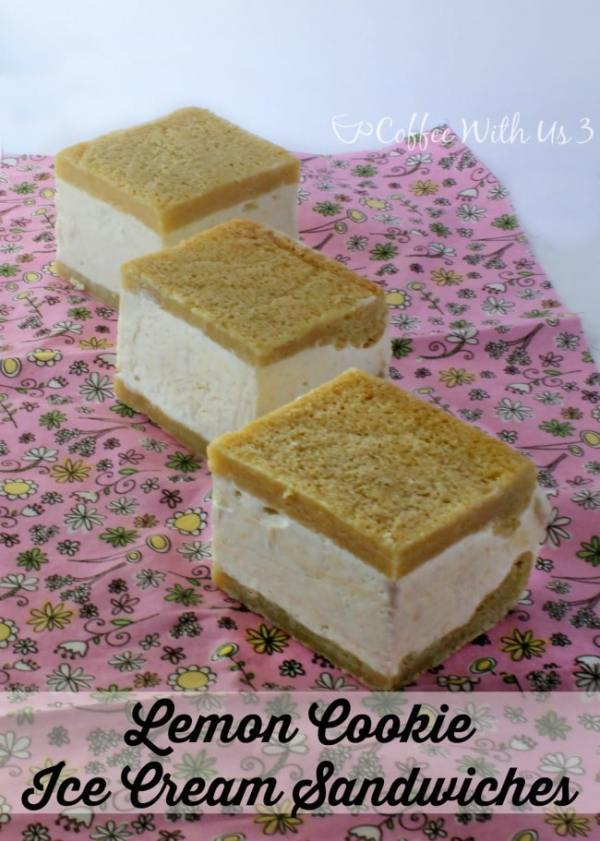 Sweet and summery Lemon Cookie Ice Cream Sandwiches are a fun treat! Lemon curd ice cream sandwiched between two delicious lemon cookies!