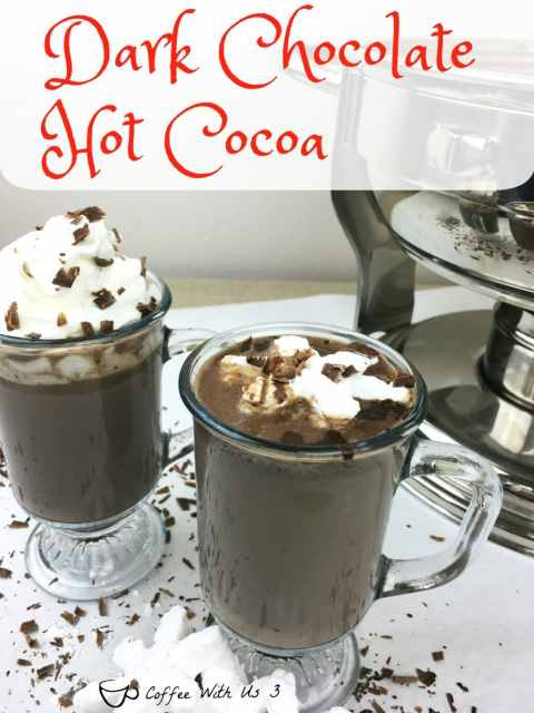 Dark Chocolate Hot Cocoa is a very chocolaty hot cocoa. It is the most delicious and decadent hot cocoa you've ever had. It is a perfect indulgence for a cold snowy day.
