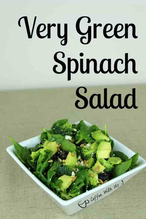 With spinach, broccoli, and avocados, Very Green Spinach Salad is very green. It also has dried cranberries, blueberries and sunflower seeds to add a little color. It's also very flavorful.