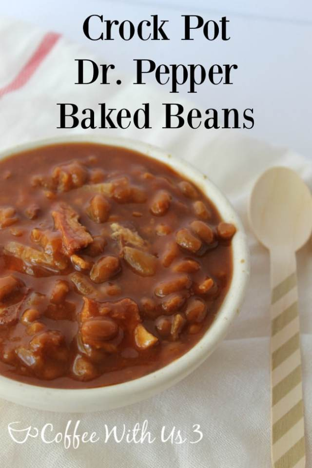 Delicious Crock Pot Dr. Pepper Baked Beans with caramelized onions and bacon! Make this easy slow cooker recipe that's perfect for a BBQ or potluck!