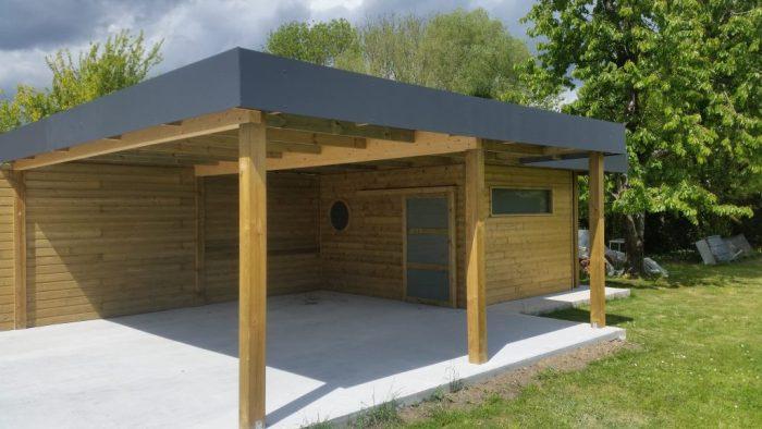 abri de jardin bois toit plat