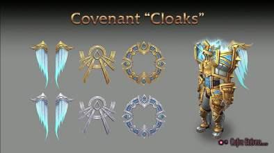 """Exemplo de recompensas ao criar um Pacto com os Kyrian: """"capas"""" em diferentes formatos, como asas."""