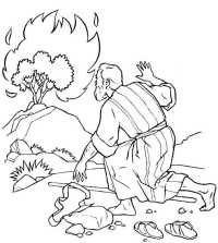 Free coloring pages of burning bush moses
