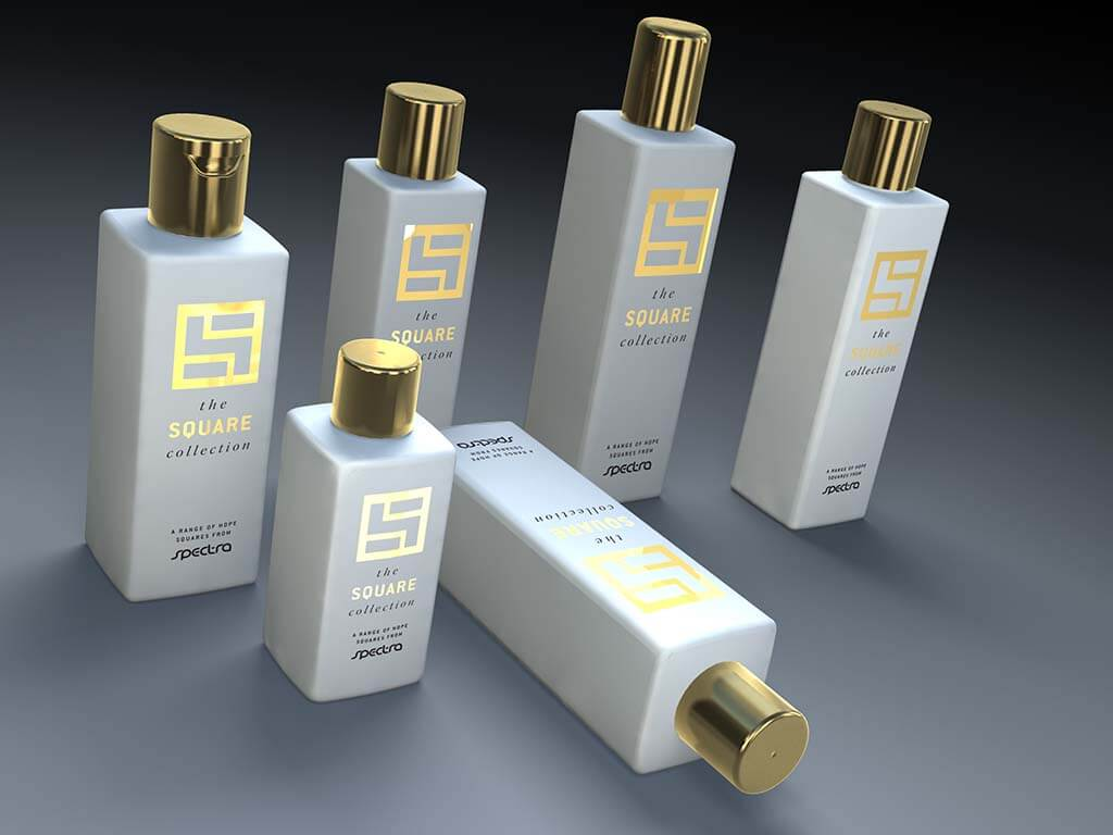 3D product visualisation bottle square gold