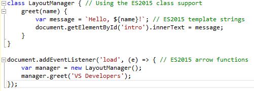 ES2015 Intellisens in Visual Studio 2015