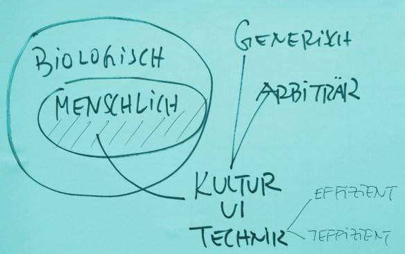 Mensch als Teil des Biologischen hat Technik als Teil von Kultur hervorgebracht: Generisch oder arbiträr. Technik ist effizient oder nicht